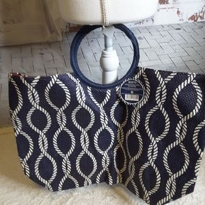 Ion Anchors Away navy nautical straw tote